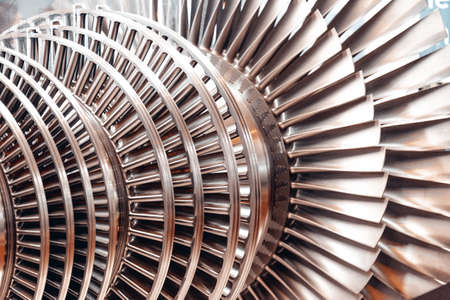 internal steam turbine open and exposed palettes