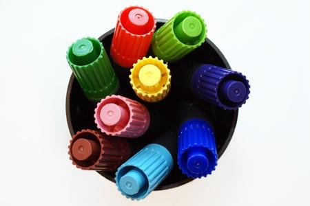 Plumas de colores filt desde arriba Foto de archivo