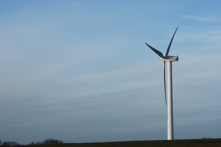vestas: Danish landscape with wind turbine Stock Photo
