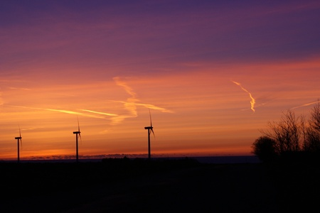 countrysides: Scenic view with three windturbines