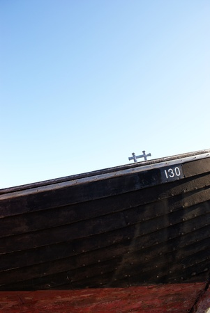 Old wooden boad against blue sky