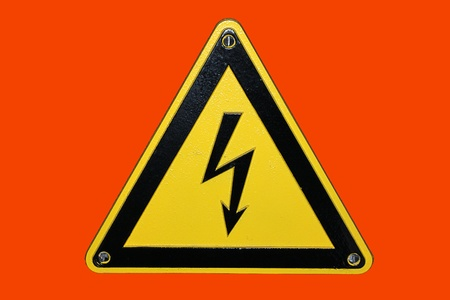 High voltage - red background photo