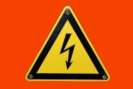 High voltage - red background photo