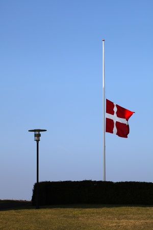 Flag on half pole, funeral Stock Photo - 12875262