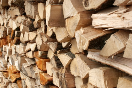 Stack of cutted timber Stock Photo