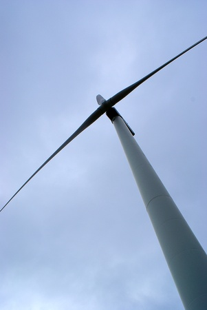 Wind turbine tilted against the sky Stock Photo - 13122305