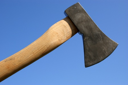 Axe against blue background
