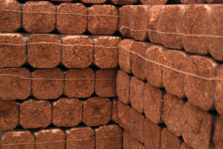 wood heating: Hard wood briks for heating Stock Photo