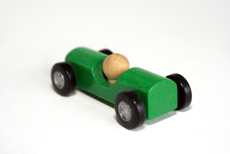 Simple green wooden car Stock Photo - 13671485