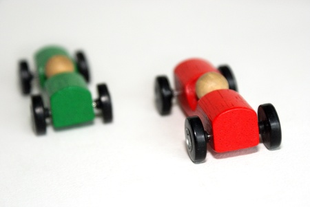 Rally  Overtaking by red car  Stock Photo