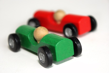 Rally  Overtaking by green car Stock Photo - 13671544