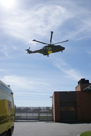The rescue, ambulance and helicopter