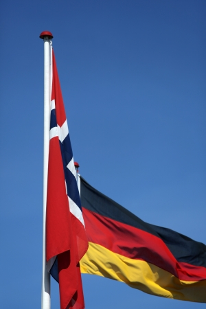 Norwegian ang German flag together photo