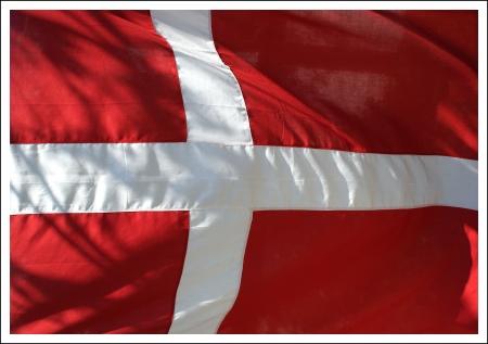 Dannebrog - the Danish flag waving  Stock Photo