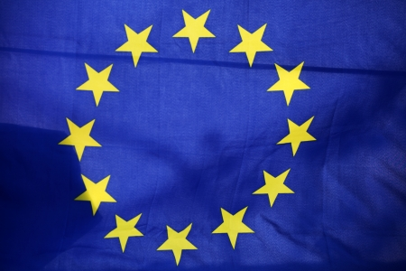 The EU flag with its twelve yellow stars Stock Photo