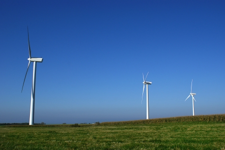 vestas: Landscape with three windturbines Stock Photo
