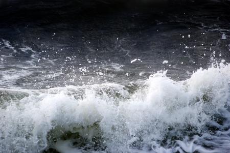 Wave breaking near the coast photo