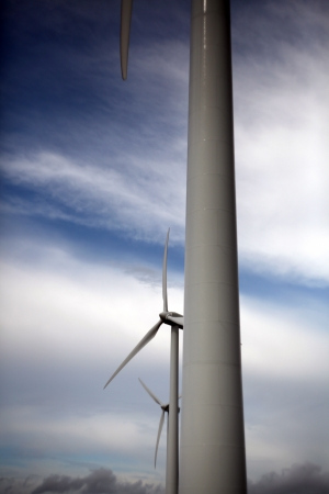 vestas: Close view on wind park with three windturbines Stock Photo