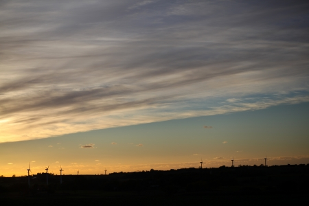 countrysides: Dusk, danish landscape with many windturbines in silhouette