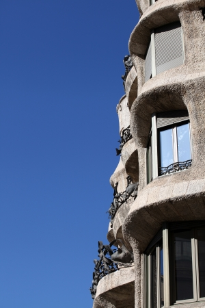 Detail of Casa Mila La Pedrera in Barcelona, Spain
