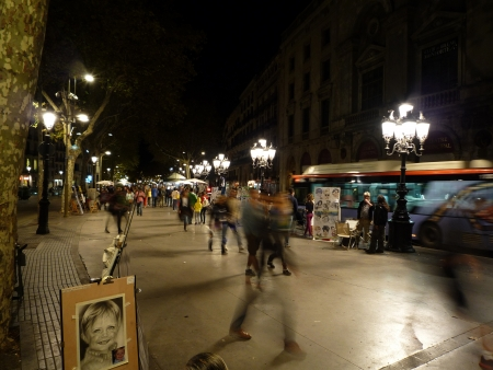 Night at La Rambla, Barcelona, Catalonia, Spain