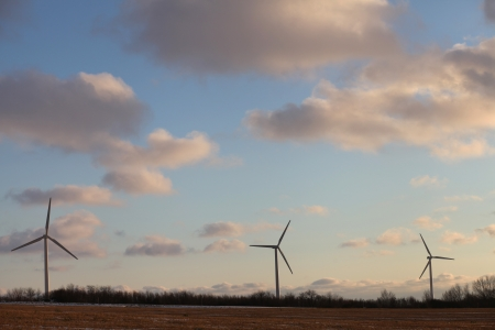 countrysides: 3 wind turbines silhouette against clouded sky  Denmark