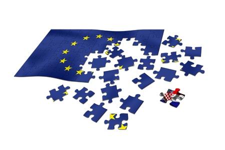 bandera croacia: Croacia reciente pieza en el rompecabezas de la bandera de la UE Foto de archivo