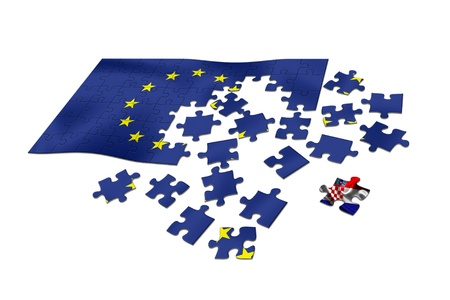 Croatia  Newest piece in the EU puzzle  Flag  Stock Photo - 17940484
