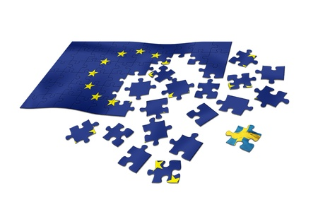 EU flag as puzzle with Swedish flag as a distant piece