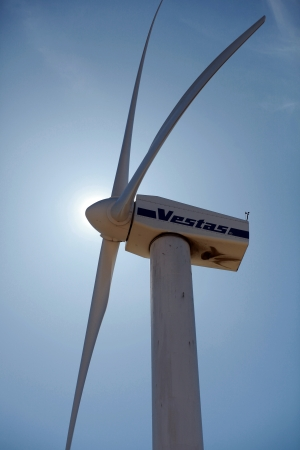 vestas: Vestas wind turbine, close against blue sky