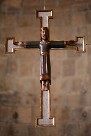 Crucified jesus  On wooden painted cross  photo