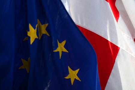 polity: EU flag and Dannebrog  The Danish Flag  Stock Photo