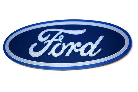 ford: Ford logo. Merk van de Amerikaanse auto. Redactioneel