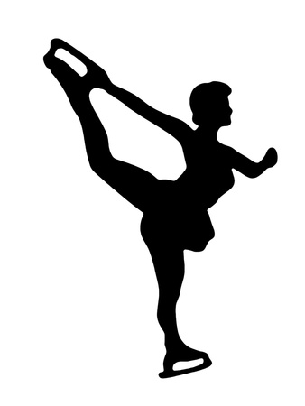 Silhouette of girl figure skating photo