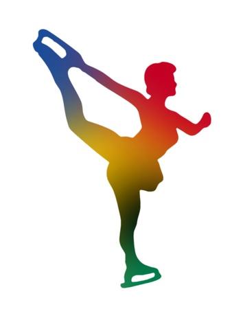 wintersport: Silhouette of girl figure skating