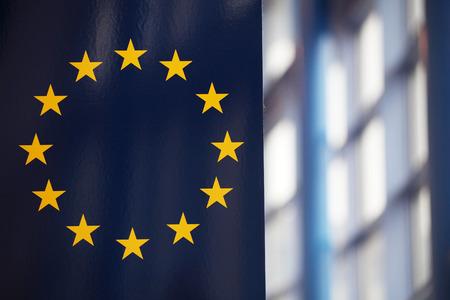 The EU flag inside central building  Stock Photo