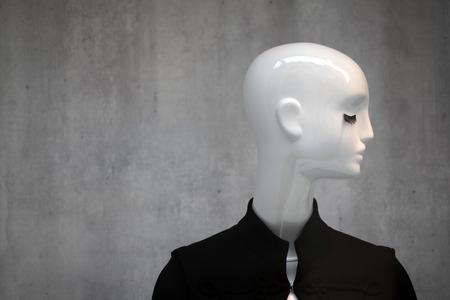 White mannequin with deep eyelash and black jacket