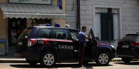 Carabinieri, the national military police of Italy, guarding