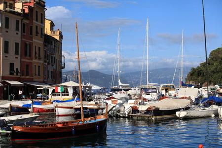 Boats in Portofino harbour, Italy  Stock Photo