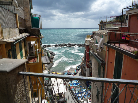 Looking out the mediterranean see in Riomaggiore, Cinque terre, Italy