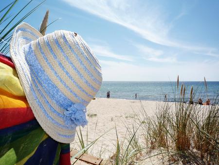 Summerhat  Sunprotection on the beach  Bornholm, Denmark