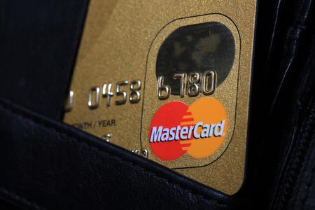 mastercard: Mastercard Credit Card in wallet Editorial