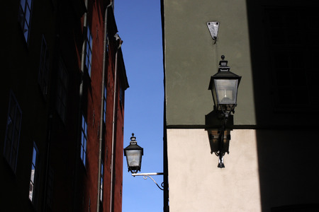 stan: Detail from small street in Stockholm Gamla stan  the old city Stock Photo