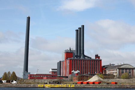Power plant against blue sky