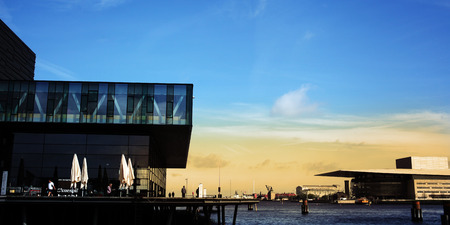 Copenhagen central waterfront: Royal Danish Playhouse and Copenhagen Opera House. Architects: Lundgaard & Tranberg, Royal Danish Playhouse. Henning Larsen, the opera house