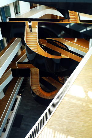 un: The famous staircase inside UN City Copenhagen inspired by Harry Potter and a Grand Piano. Architects 3XN Editorial