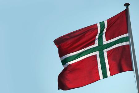 Bornholmian flag, blue sky Stock Photo