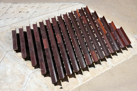 Looking down at rows of benches. For inspiration, design and creativity. Do you see the pigion. Stock Photo