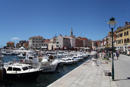 Mediterranean town Rovinj, Croatia, the harbor Stock Photo