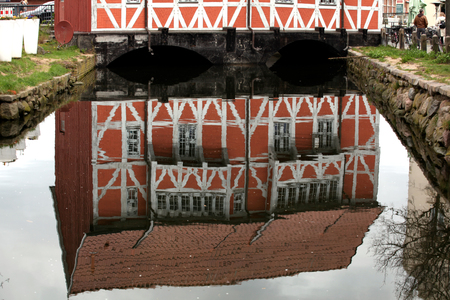 Reflection of the old town symbol of Wismar.